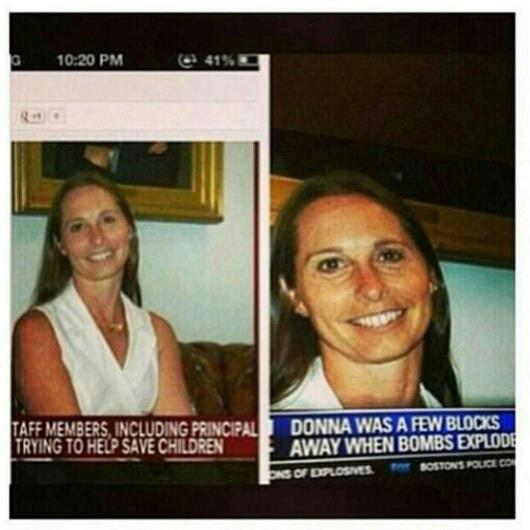 #Conspiracy | Same lady who died at the sandy hook shootings, was also at the Boston marathon.